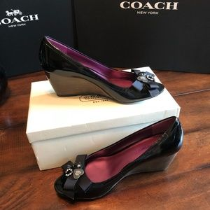 Coach Jaden Patent Leather Wedge Heels Size 9